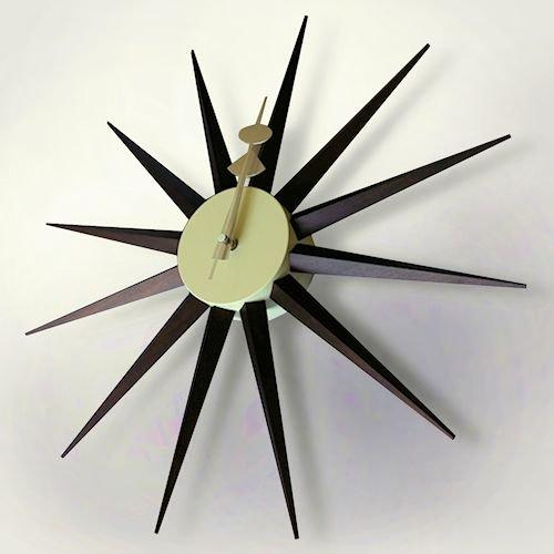 ジョージ・ネルソン/SunburstClockサンバーストクロック【ウォールナット塗装仕上げ】詳細画像-デザイナーズ家具通販N PLUS