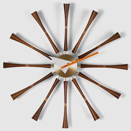 ジョージ・ネルソン/SpindleClockスピンドルクロック【ウォールナット×真鍮】メイン画像-デザイナーズ家具通販N PLUS