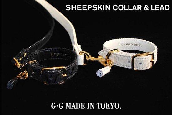 シープスキンカラー&リード(ブラック・オフホワイト)羊革