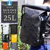 送料無料 バックパック 25L ロールトップ 防水 アウトドア PVC アーバン キャンプ PIRARUKU 自転車 デイバッグ
