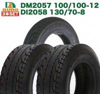 3本セット DURO DM2057 100/100-12   DI2058 130/70-8  4サイクル ジャイロキャノピー 前後セット