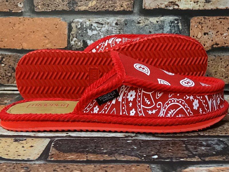ハウスシューズ ペイズリー柄スリッパ bandana slipper カラー:レッドxホワイト