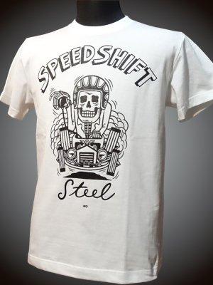 steel-hot rod wear スティール Tシャツ (STL-C043) grimb design カラー:ホワイト