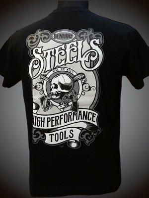 steel-hot rod wear スティール Tシャツ (STL-C016) grimb design カラー:ブラック