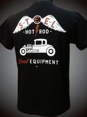 steel-hot rod wear スティール Tシャツ (STL-676) grimb design カラー:ブラック