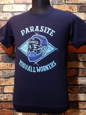 parasite パラサイト 7.1ozサイドパネルTシャツ OLD MAN  カラー:ネイビー