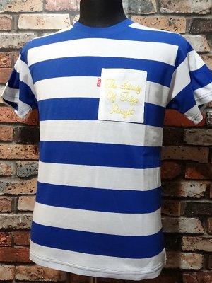 parasite パラサイト ボーダーポケットTシャツ (THE SUBURBS OF TOKYO) カラー:ホワイトxブルー