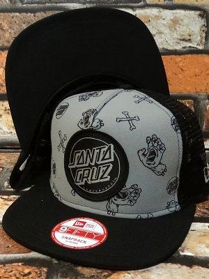 santa cruz  サンタクルーズ メッシュキャップ (gatherer new era mesh trucker hat) カラー:グレーxブラック