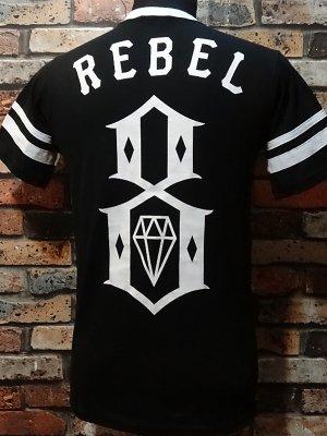 rebel8 レベルエイト VネックTシャツ  Eighters Jersey (REBEL8の架空の野球チームEIGHTERS)  カラー:ブラック