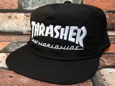 HUF ハフ x thrasher スラッシャー スナップバック キャップ (COLLAB LOGO SNAP BACKCAP)  カラー:ブラック