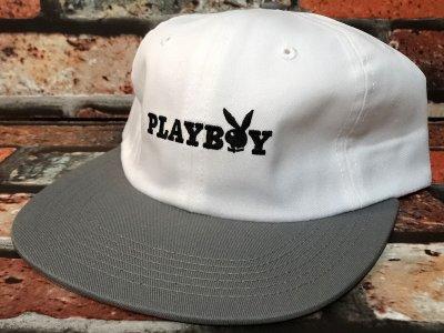 GOODWORTH グッドワースx PLAYBOY  キャップ (BUNNY TEXT  CAP) カラー:ホワイトxグレー
