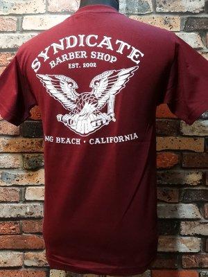 SYNDICATE BARBER SHOP シンジケートバーバーショップ  Tシャツ   カラー:バーガンディー