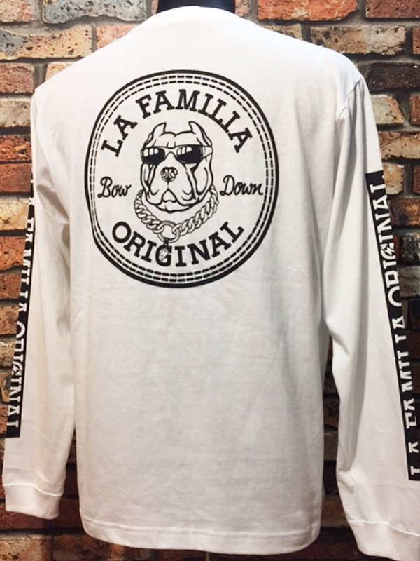 LA FAMILIA ORIGINAL ラ ファミリアオリジナル ロングスリーブTシャツ (BOW DOWN) カラー:ホワイト