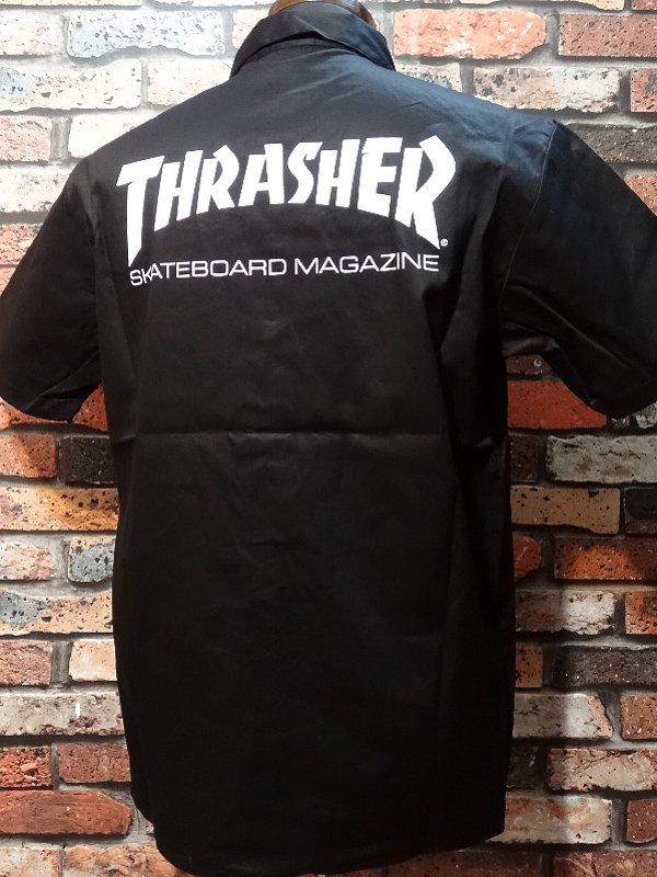 THRASHER スラッシャー 半袖ワークシャツ  (MAG) work shirt  カラー:ブラック