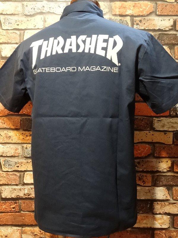 THRASHER スラッシャー 半袖ワークシャツ  (MAG) work shirt  カラー:ネイビー