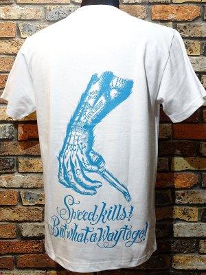 parasite パラサイト Tシャツ World Beyond Speed  カラー:ホワイトxオーシャンブルー