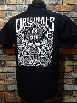 OG Classix オージークラッシックス 半袖ワークシャツ original skull & rose work short shirt  カラー:ブラック