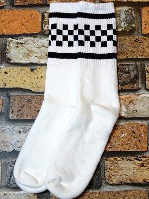 SOCCO SOCKS  ハイソックス  (MC08) WHITE CHECK CREW  カラー:ホワイト
