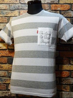 parasite パラサイト ボーダーポケットTシャツ (THE SUBURBS OF TOKYO) カラー:ホワイトxグレー