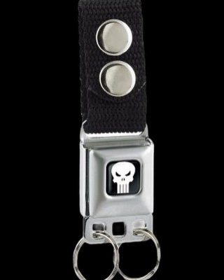 BuckleDown バックルダウン キーベルト (KC-PSA) 車のシートベルトをキーホルダーにアレンジ! -Punisher  Black/White
