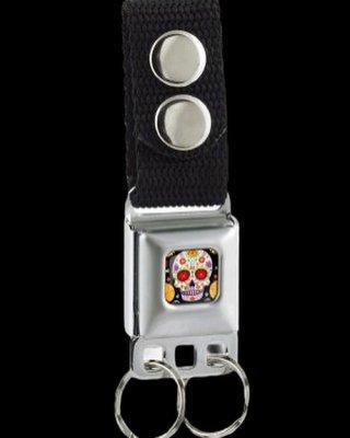 BuckleDown バックルダウン キーベルト(KC-TYA) 車のシートベルトをキーホルダーにアレンジ!  -Sugar Skull   Full Color