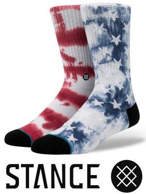 STANCE SOCKS スタンスソックス  (PATRIOT 2)  カラー:ブルーxレッド