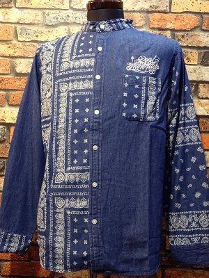 RealMinority リアルマイノリティー バンダナ柄 長袖スタンドカラーシャツ(script) bandana shirt  カラー:ブルー