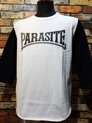 parasite パラサイト 3/4スリーブTシャツ (PARASITE)  カラー:ホワイトxブラック