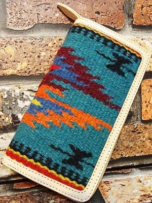 OLD POINT オールドポイント ラウンドファスナーウォレット El Paso エルパソ社製 生地使用 ブルー系