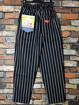Cookman クックマン Chef Pants シェフパンツ ルーズフィット イージーパンツ (PinStripe) コックパンツ カラー:ブラックxホワイト