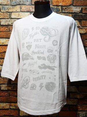 parasite パラサイト 3/4スリーブTシャツ Flash カラー:ホワイト