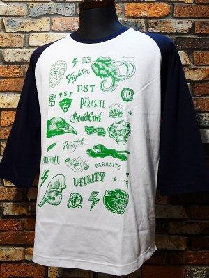 parasite パラサイト 3/4スリーブTシャツ Flash カラー:ホワイトxネイビー
