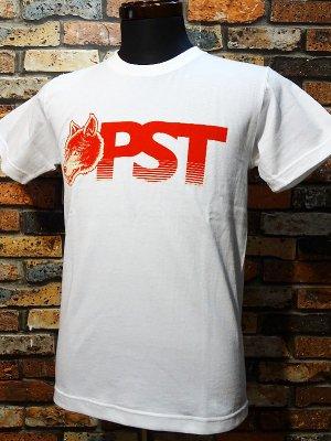 parasite パラサイト 7.1ozTシャツ wolf pst  カラー:ホワイトxレッド