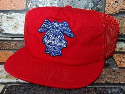 LOSER MACHINE x PABST BLUE RIBBON BEER BADGE CAP カラー:レッド