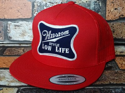 kustomstyle カスタムスタイル メッシュキャップ(KSCP1401PARD) low life twill patch mesh cap  カラー:レッド