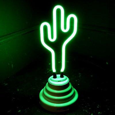 REAL NEON DESK LIGHTS ネオンライト (CACTUS) ネオンテーブルサイン 全長約24cm