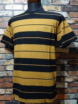 LOSER MACHINE ルーザーマシーン マルチボーダー ポケットTシャツ (Rancho) カラー:ブラウンxブラック