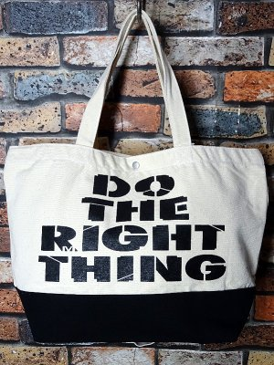 RealMinority リアルマイノリティー 2WAY キャンバス トートバッグ (Do the right thing) カラー:ナチュラルxブラック