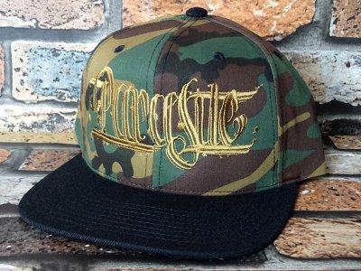 parasite パラサイト snapback cap (PARASITE CAP) カラー:カモフラージュ×ゴールド