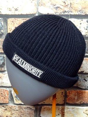 RealMinority リアルマイノリティー ニットキャップ (TRADE MARK LOGO)フィッシャーマンスタイル  カラー:ブラック