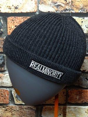 RealMinority リアルマイノリティー ニットキャップ (TRADE MARK LOGO)フィッシャーマンスタイル  カラー:チャコール