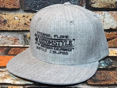 kustomstyle カスタムスタイル  スナップバックキャップ (KSCP1901GY) eternal flame snap back cap カラー:グレー