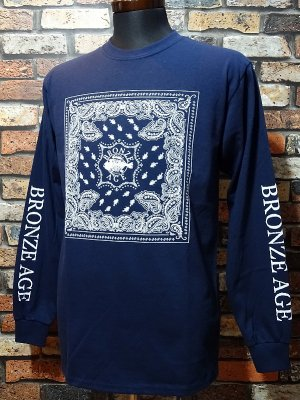 BRONZE AGE ブロンズエイジ ロングスリーブTシャツ (bandana) カラー:ネイビー