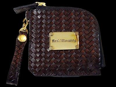 RealMinority オリジナル ラウンド エンボスレザーショートウォレット (basket x plate) embossed leather wallet カラー:ブラック
