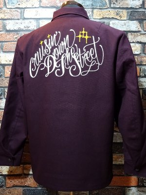 kustomstyle ワークジャケット(KSLWJ1902WI) cruisin down the street hopsack light weight jacket カラー:ワイン