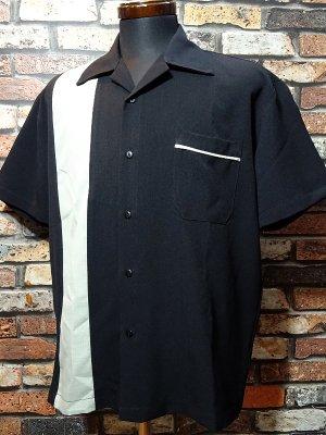 SteadyClothing ステディクロージング 半袖ボウリングシャツ pop check single panel shirt  カラー:ブラック