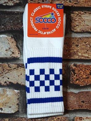 SOCCO SOCKS  ハイソックス  (MC35 スネ丈) WHITE CHECK CREW  カラー:ホワイト×ブルー