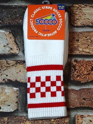 SOCCO SOCKS  ハイソックス  (MC33 スネ丈) WHITE CHECK CREW  カラー:ホワイト×レッド