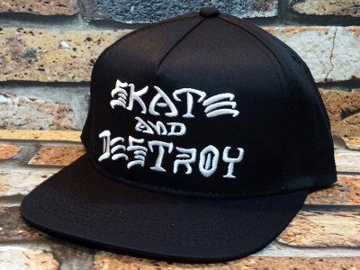 THRASHER スラッシャー スナップバックキャップ (SKATE&DESTROY) snapback cap カラー:ブラック