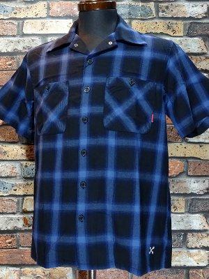 Bluco ブルコ  半袖チェックシャツ (OL-108CO-019) ombre check work shirts カラー:ブルー